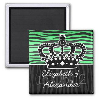 estampado de zebra de moda del verde esmeralda y d imanes