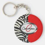 Estampado de zebra de moda y monograma rojo de neó llaveros personalizados