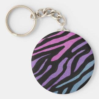 Estampado de zebra de neón llavero redondo tipo pin