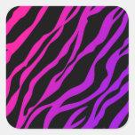 Estampado de zebra de Ombre Pegatina Cuadrada