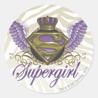 Estampado de zebra de Supergirl Etiquetas Redondas