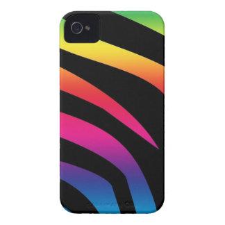 Estampado de zebra del arco iris Case-Mate iPhone 4 protector