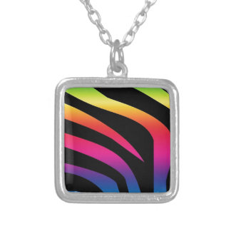 Estampado de zebra del arco iris colgante cuadrado