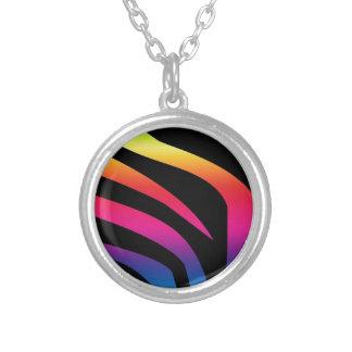 Estampado de zebra del arco iris colgante redondo