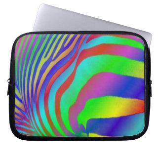 Estampado de zebra del arco iris manga computadora