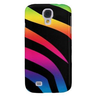Estampado de zebra del arco iris funda para galaxy s4