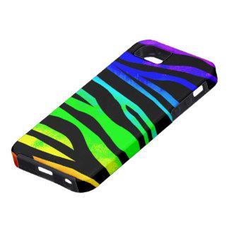 Estampado de zebra del arco iris iPhone 5 fundas