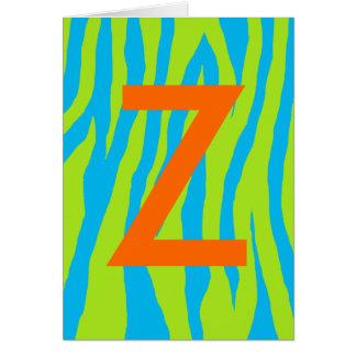 Estampado de zebra del azul y de la cal tarjeta de felicitación