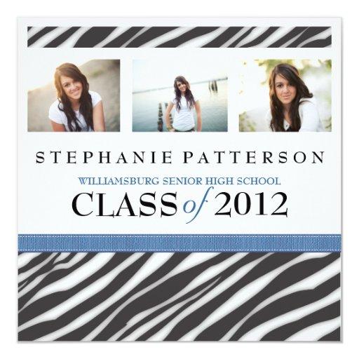 Estampado de zebra del chica del encanto de la invitación 13,3 cm x 13,3cm