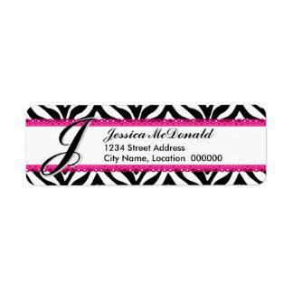 Estampado de zebra del monograma y cordón rosado etiqueta de remitente