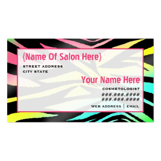 Estampado de zebra del neón de la cita del salón d plantilla de tarjeta personal