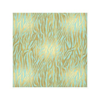 Estampado de zebra del oro y de la menta lona estirada galerias
