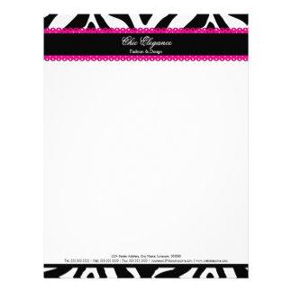 Estampado de zebra elegante y papel con membrete r membretes personalizados