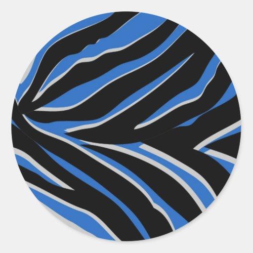 Estampado de zebra en azul pegatina redonda
