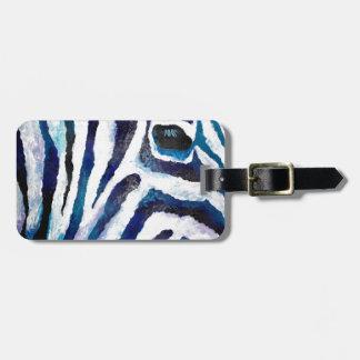Estampado de zebra en la púrpura y el trullo (arte etiqueta para maleta