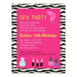 """Estampado de zebra, fiesta del balneario, para los invitación 4.25"""" x 5.5"""""""