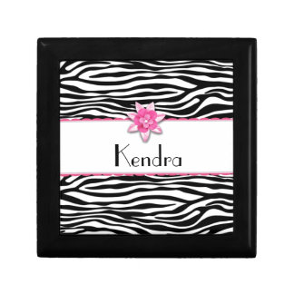 Estampado de zebra floral rosado joyero cuadrado pequeño