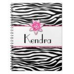 Estampado de zebra floral rosado libro de apuntes con espiral