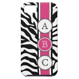 Estampado de zebra fresco con iniciales de las iPhone 5 carcasa