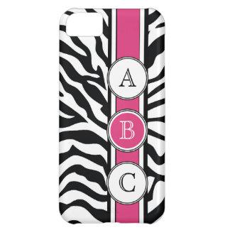 Estampado de zebra fresco con iniciales de las ros funda para iPhone 5C
