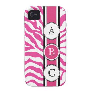 Estampado de zebra fresco de las rosas fuertes vibe iPhone 4 fundas