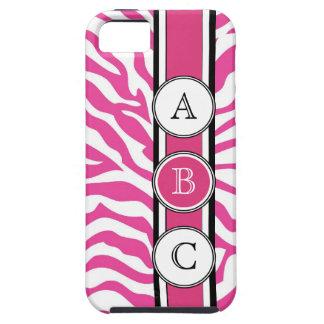 Estampado de zebra fresco de las rosas fuertes iPhone 5 funda
