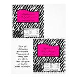 Estampado de zebra grande de las rosas fuertes de  tarjeta publicitaria