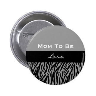 Estampado de zebra gris moderno 7 de la fiesta de pin redondo de 2 pulgadas