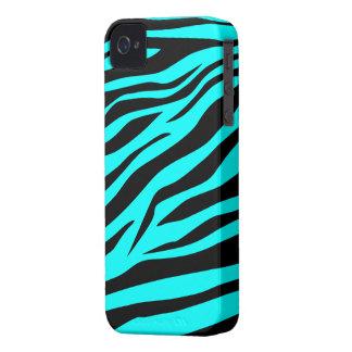 Estampado de zebra imponente del negro de la aguam iPhone 4 Case-Mate protectores