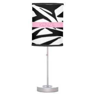 Estampado de zebra + Lámpara personalizada rosa