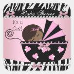 Estampado de zebra lindo del rosa de la niña de la calcomanías cuadradass