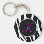 Estampado de zebra: Monograma púrpura: Llavero