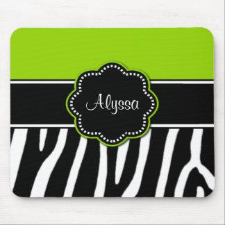 Estampado de zebra Mousepad de la verde lima