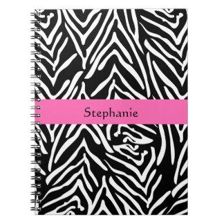Estampado de zebra negro, del blanco y de las libreta