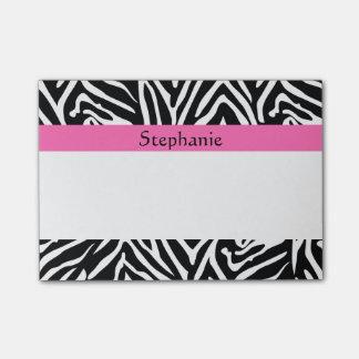 Estampado de zebra negro, del blanco y de las notas post-it®