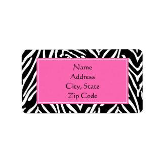 Estampado de zebra negro, del blanco y de las rosa etiqueta de dirección