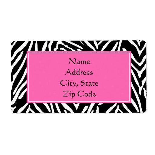 Estampado de zebra negro, del blanco y de las rosa etiqueta de envío