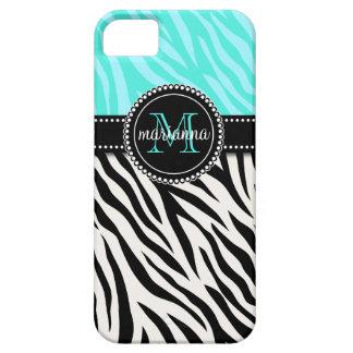 Estampado de zebra negro femenino moderno de la ag iPhone 5 Case-Mate protector
