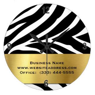 Estampado de zebra negro moderno con el reloj de