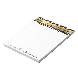 Estampado de zebra negro moderno con la libreta blocs de notas