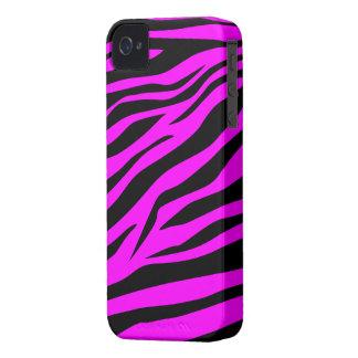 Estampado de zebra negro púrpura fresco - caso del iPhone 4 cárcasas