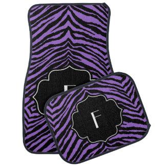 Estampado de zebra negro púrpura inicial con monog alfombrilla de auto