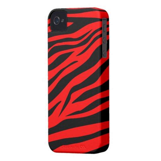 Estampado de zebra negro/rojo imponente - caso del iPhone 4 carcasas