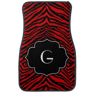 Estampado de zebra negro rojo inicial con monogram alfombrilla de auto