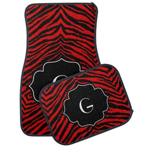 Estampado de zebra negro rojo inicial con monogram alfombrilla de coche