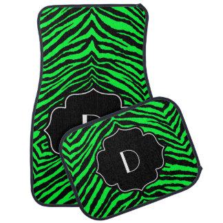 Estampado de zebra negro verde de neón inicial con alfombrilla de auto