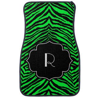 Estampado de zebra negro verde inicial con monogra alfombrilla de auto