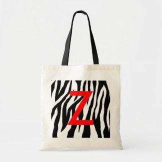 Estampado de zebra negro y blanco bolsa tela barata