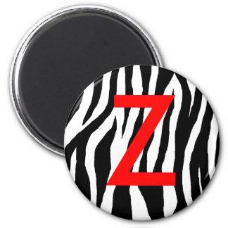 Estampado de zebra negro y blanco imán redondo 5 cm