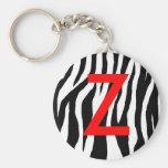 Estampado de zebra negro y blanco llaveros personalizados